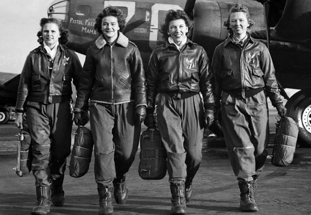 Courtesy of The Woman's Collection, Texas Woman's University  WASP (from left) Frances Green, Margaret Kirchner, Ann Waldner and Blanche Osborn leave their B-17, called Pistol Packin' Mama, during ferry training at Lockbourne Army Air Force base in Ohio. They're carrying their parachutes. (copied from the NPR website)