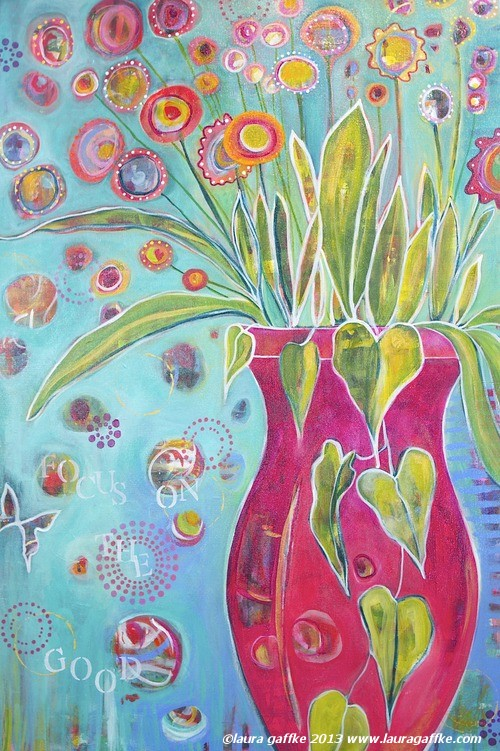 focus on the good, colorful flowers in vase painting