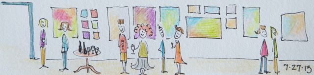 Kitty's drawing of the opening reception